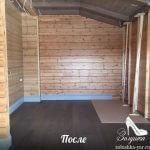 Комната с деревянными стенами после уборки