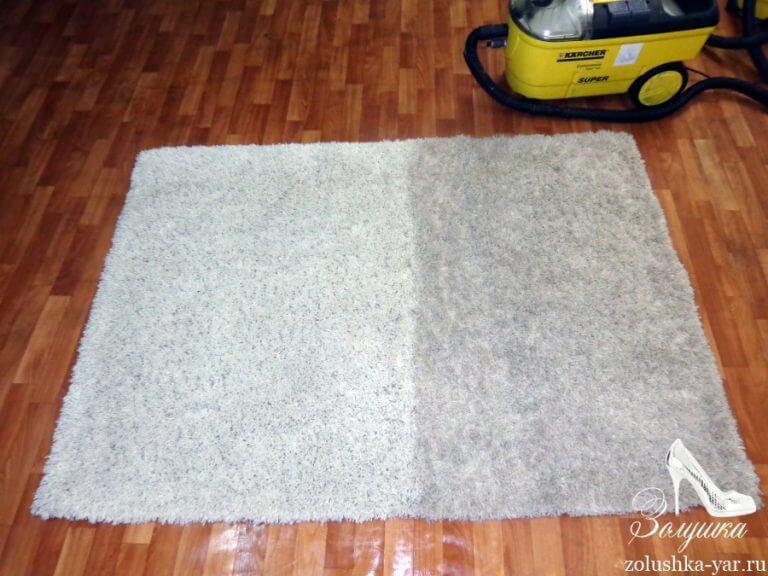 Мягкий ковер наполовину вычищенный моющим пылесосом
