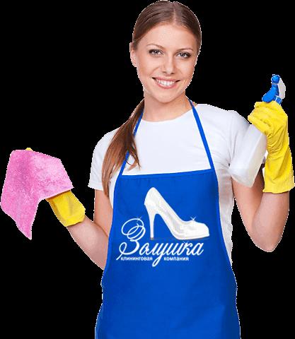 Женщина с распылителем и тряпкой