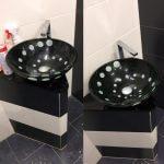 Черная чашеобразная раковина до и после чистки