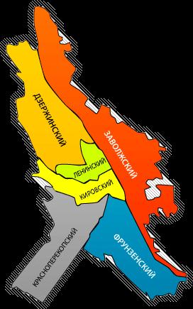Схема районов Ярославля