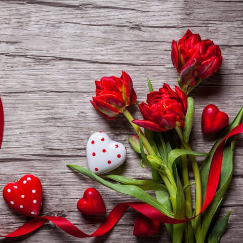 Красные цветы на деревянном фоне