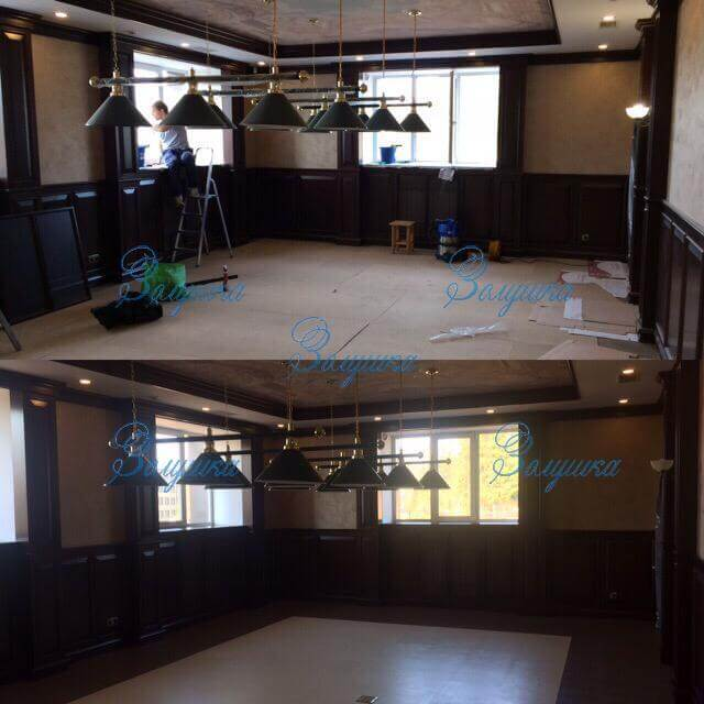 Холл общественного помещения до и после генеральной уборки
