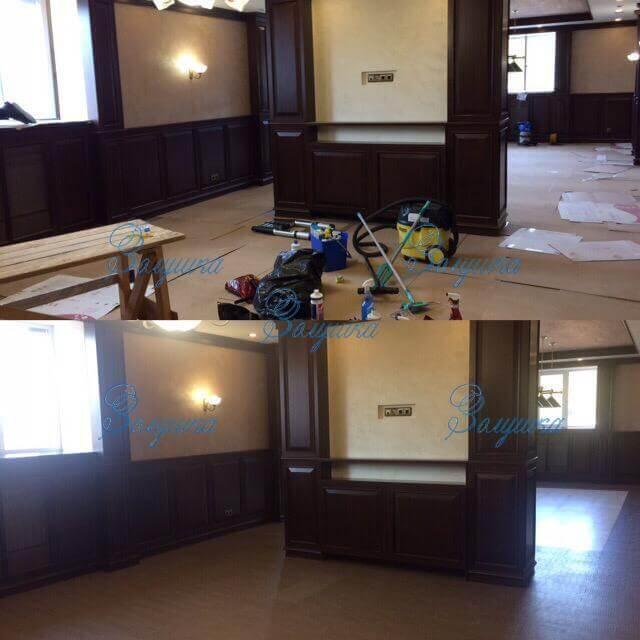 Холл офиса до и после генеральной уборки