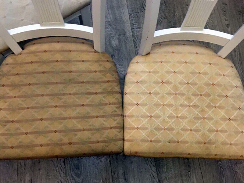 Обивка стульев до и после чистки