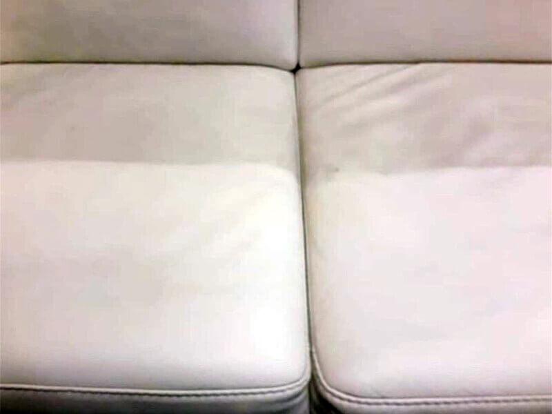 Кожаная обивка дивана в процессе химчистки