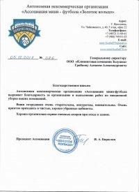Благодарственное письмо Ассоциации минифутбола